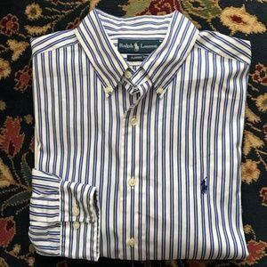 Polo Button Down Striped Men's Classic Fit